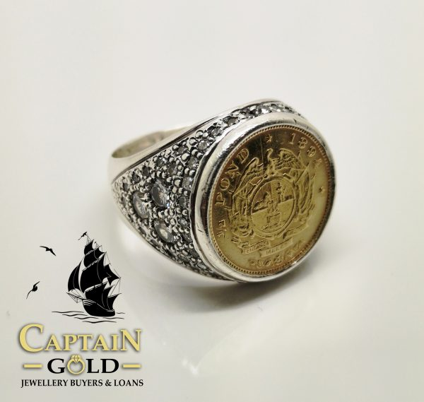 coin ring, half pond zar, diamonds in silver